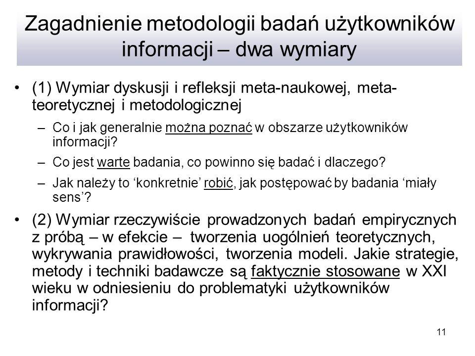 Zagadnienie metodologii badań użytkowników informacji – dwa wymiary