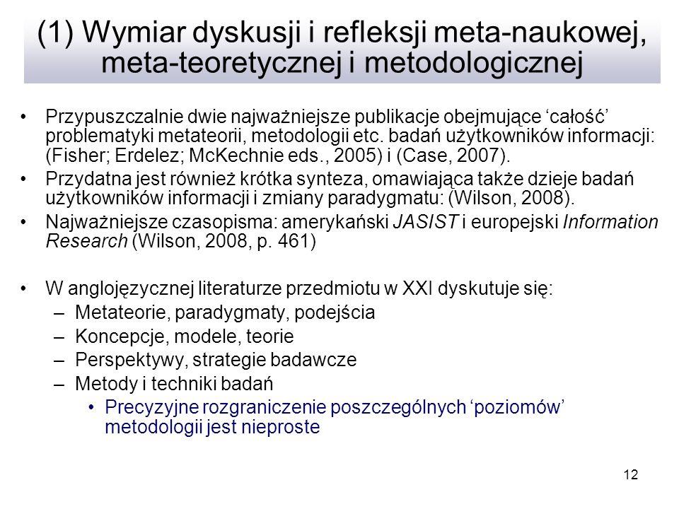 (1) Wymiar dyskusji i refleksji meta-naukowej, meta-teoretycznej i metodologicznej