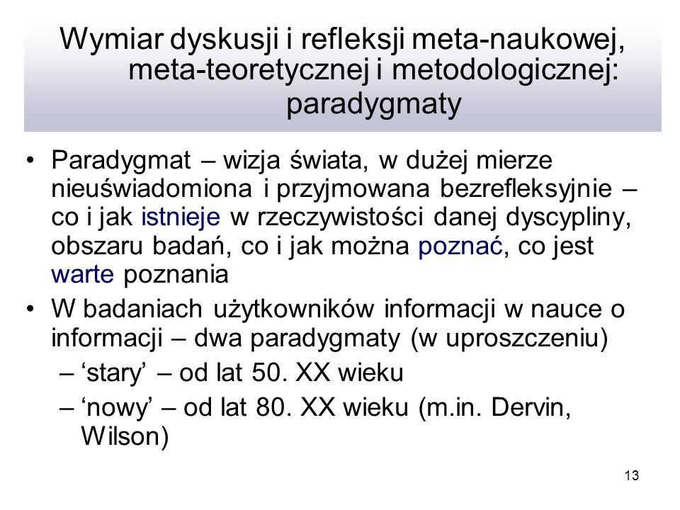 Wymiar dyskusji i refleksji meta-naukowej, meta-teoretycznej i metodologicznej: paradygmaty