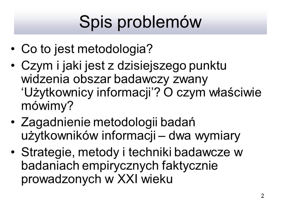 Spis problemów Co to jest metodologia