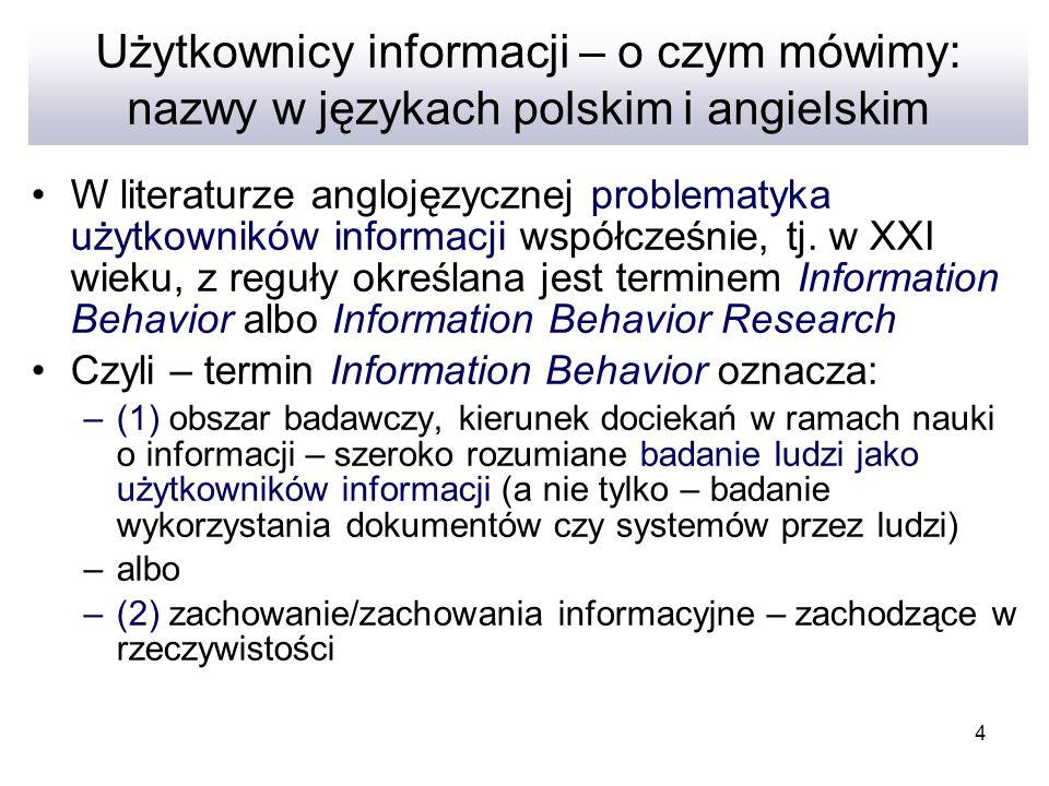 Użytkownicy informacji – o czym mówimy: nazwy w językach polskim i angielskim