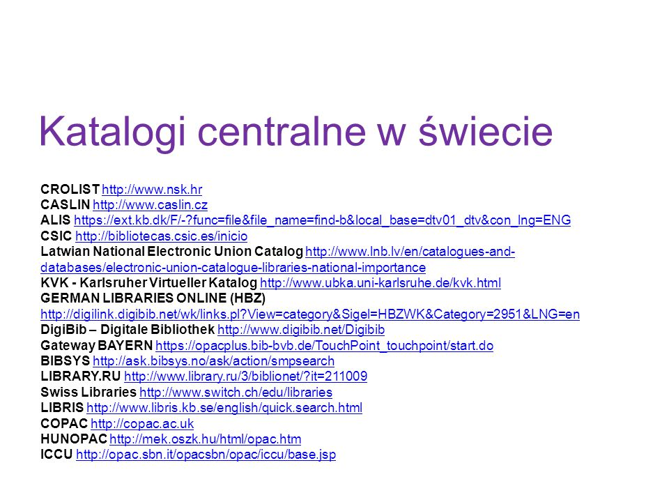 Katalogi centralne w świecie