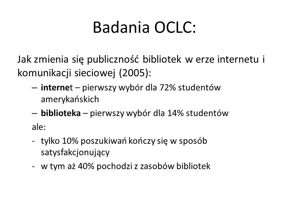 Badania OCLC: Jak zmienia się publiczność bibliotek w erze internetu i komunikacji sieciowej (2005):