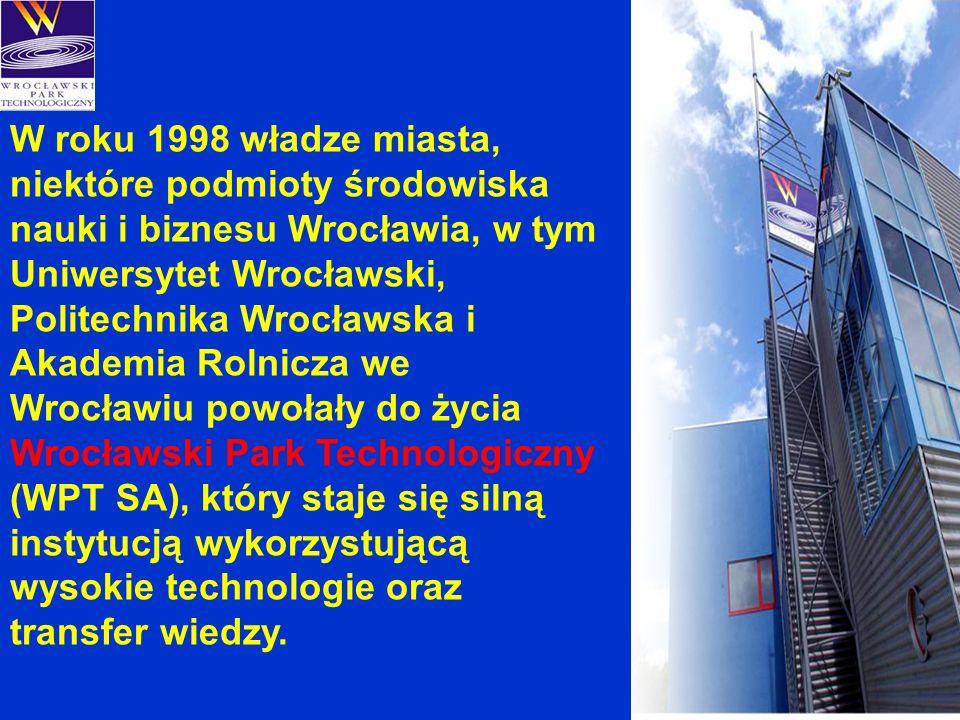 W roku 1998 władze miasta, niektóre podmioty środowiska nauki i biznesu Wrocławia, w tym Uniwersytet Wrocławski, Politechnika Wrocławska i Akademia Rolnicza we Wrocławiu powołały do życia Wrocławski Park Technologiczny (WPT SA), który staje się silną instytucją wykorzystującą wysokie technologie oraz transfer wiedzy.