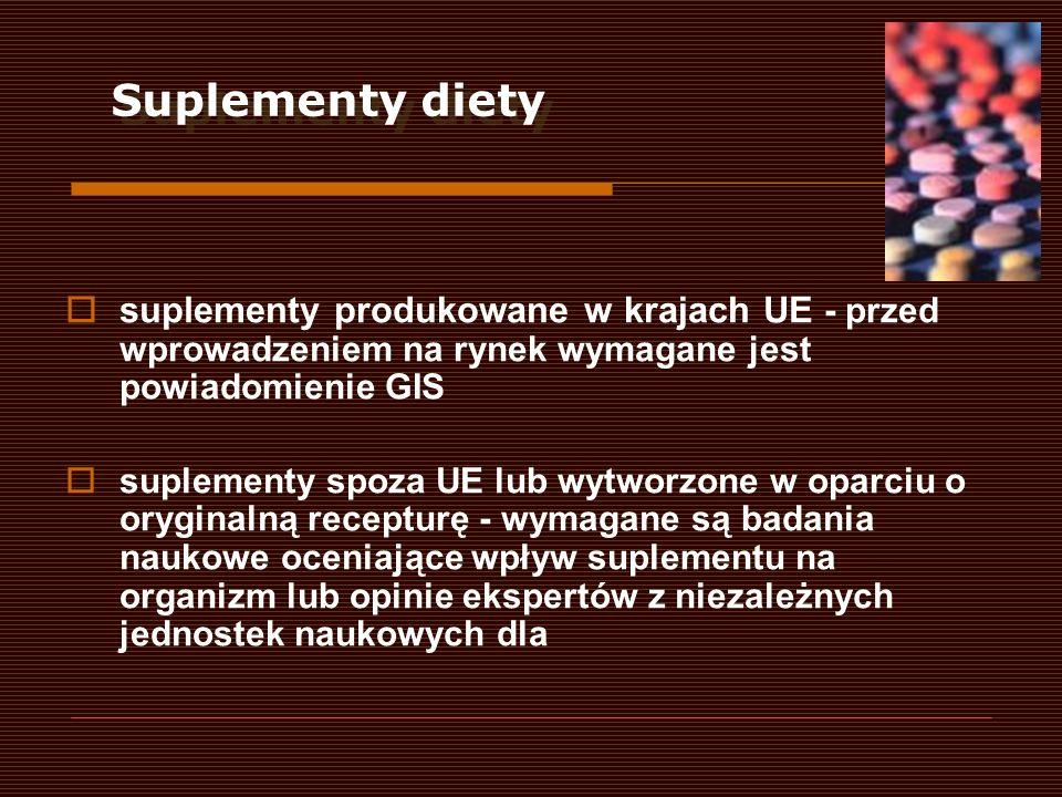 Suplementy dietysuplementy produkowane w krajach UE - przed wprowadzeniem na rynek wymagane jest powiadomienie GIS.