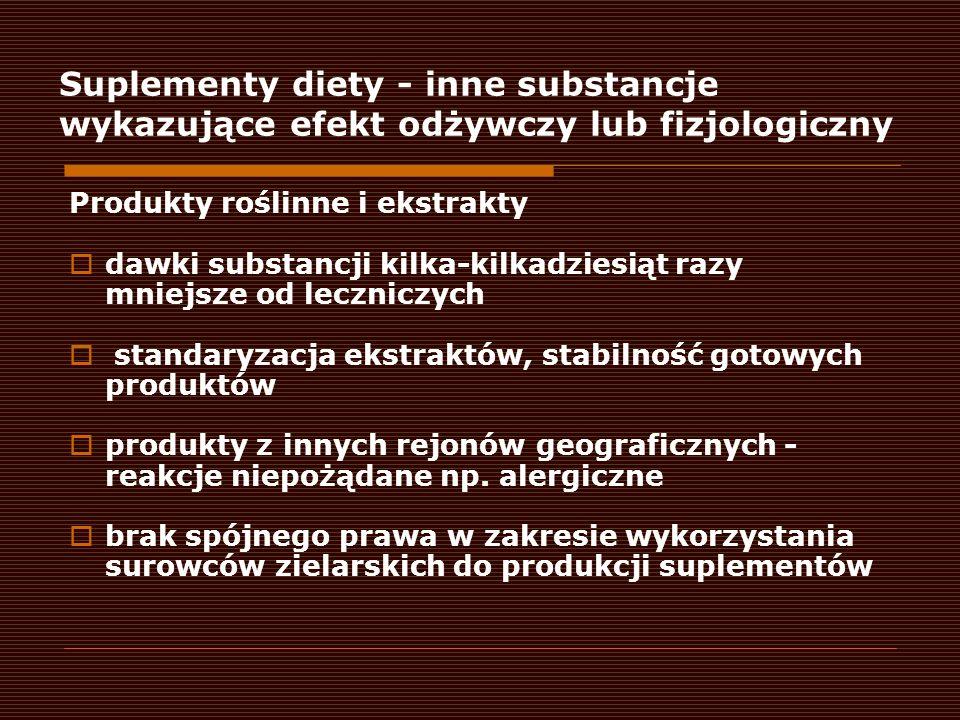 Suplementy diety - inne substancje wykazujące efekt odżywczy lub fizjologiczny
