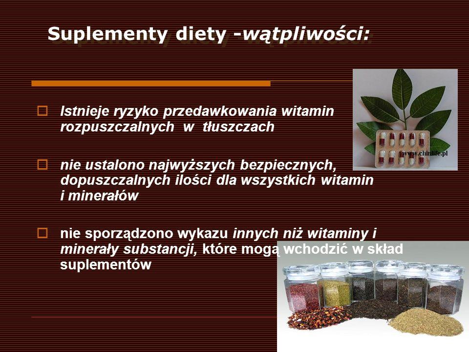 Suplementy diety -wątpliwości: