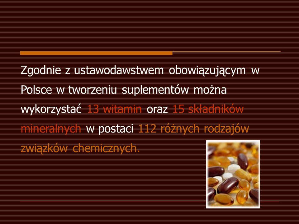 Zgodnie z ustawodawstwem obowiązującym w Polsce w tworzeniu suplementów można wykorzystać 13 witamin oraz 15 składników mineralnych w postaci 112 różnych rodzajów związków chemicznych.