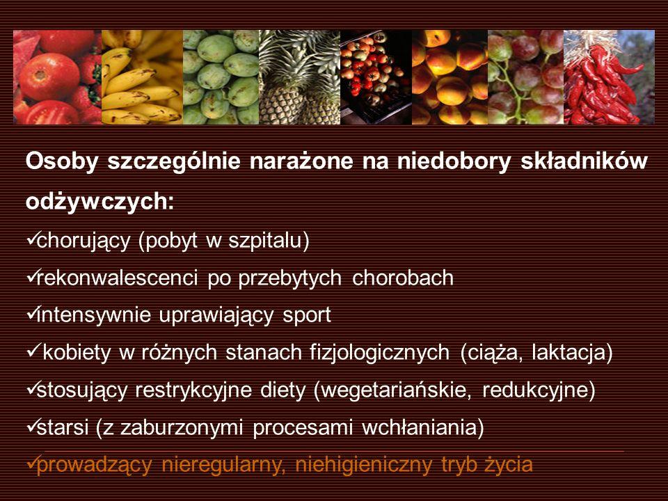 Osoby szczególnie narażone na niedobory składników odżywczych: