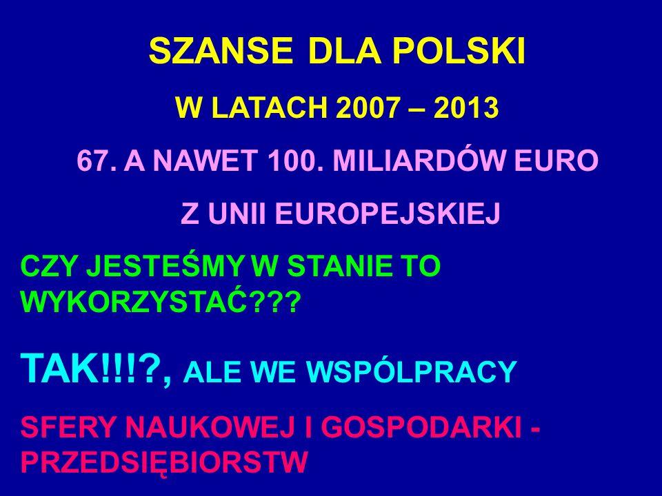 TAK!!! , ALE WE WSPÓLPRACY SZANSE DLA POLSKI W LATACH 2007 – 2013