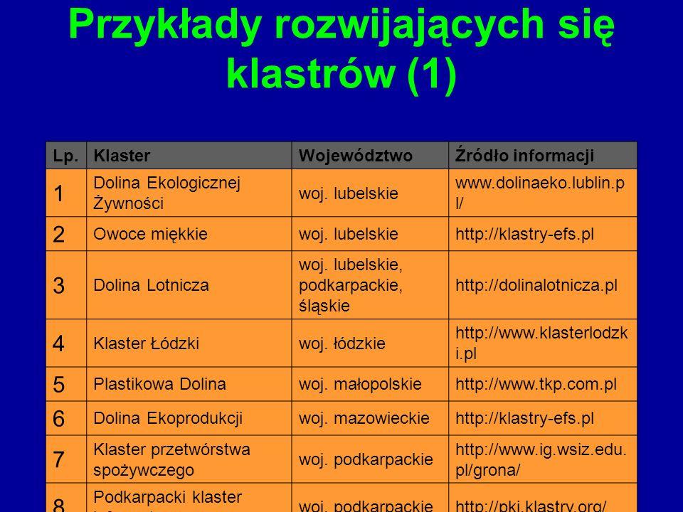 Przykłady rozwijających się klastrów (1)
