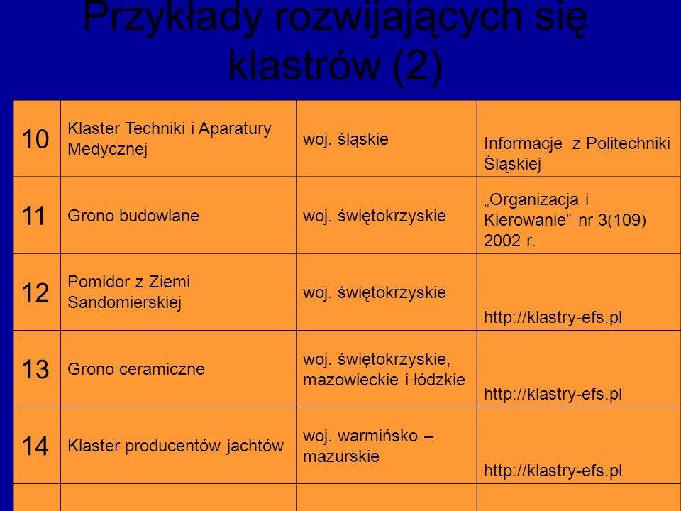 Przykłady rozwijających się klastrów (2)