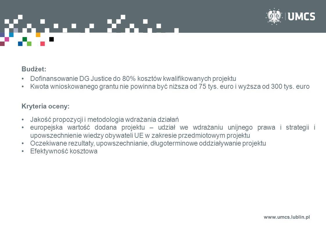 Dofinansowanie DG Justice do 80% kosztów kwalifikowanych projektu