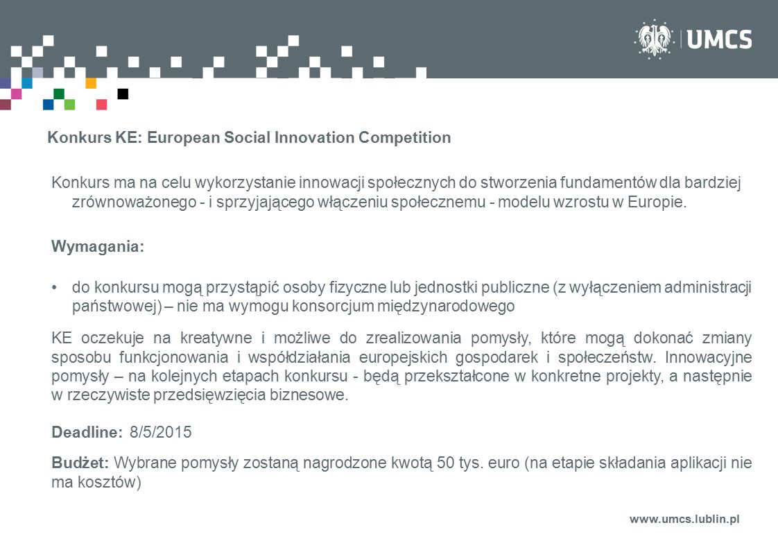 Konkurs KE: European Social Innovation Competition