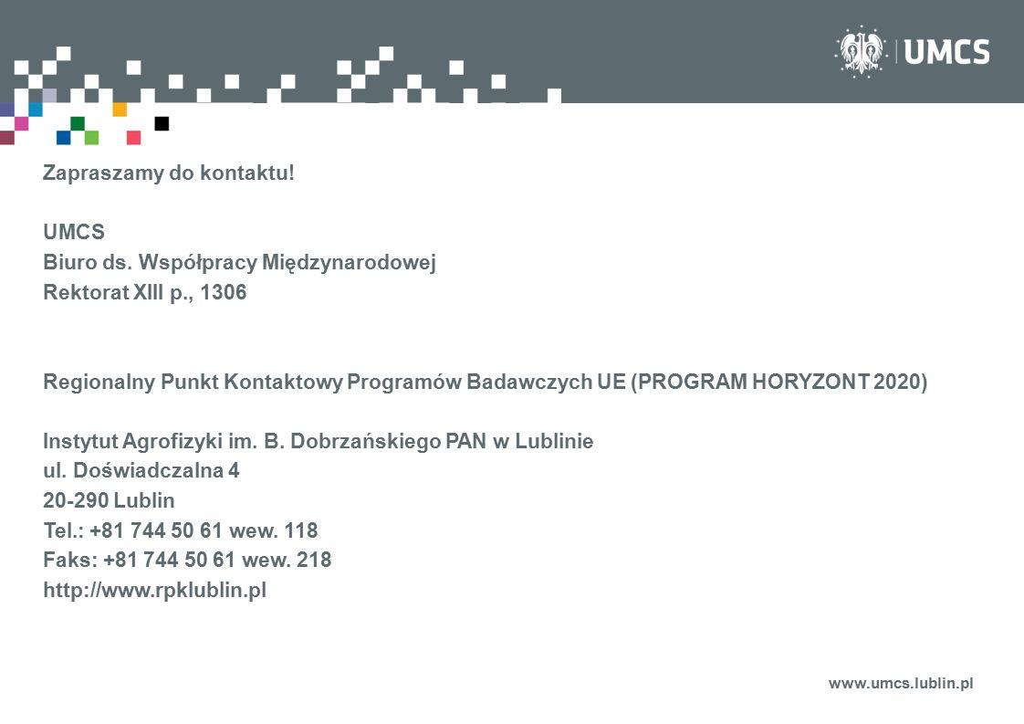 Zapraszamy do kontaktu! UMCS Biuro ds. Współpracy Międzynarodowej