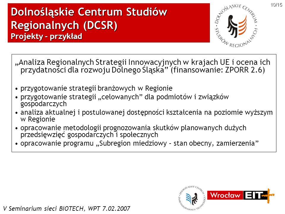 Dolnośląskie Centrum Studiów Regionalnych (DCSR) Projekty - przykład