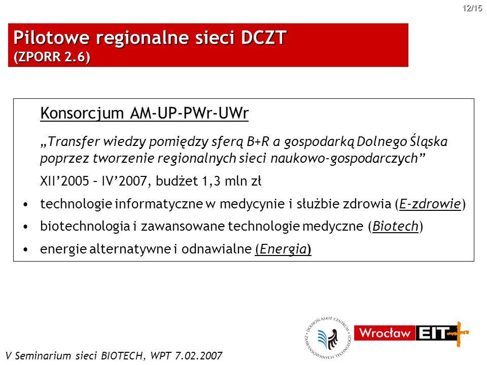 Pilotowe regionalne sieci DCZT (ZPORR 2.6)