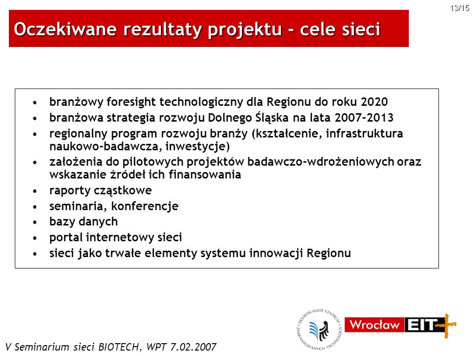 Oczekiwane rezultaty projektu - cele sieci