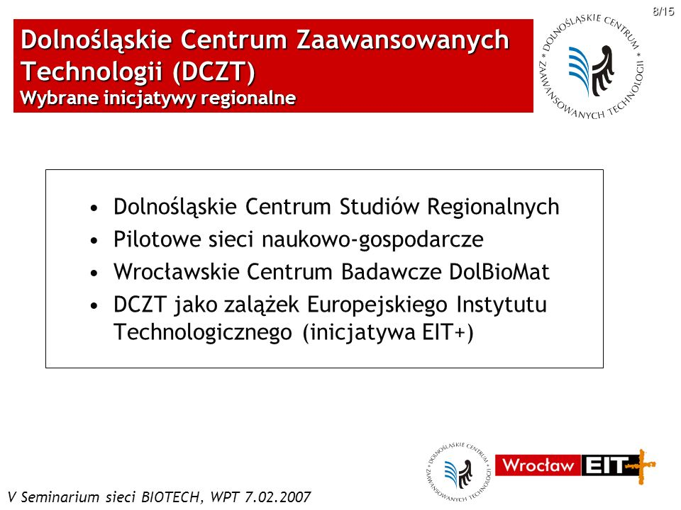 Dolnośląskie Centrum Zaawansowanych Technologii (DCZT) Wybrane inicjatywy regionalne