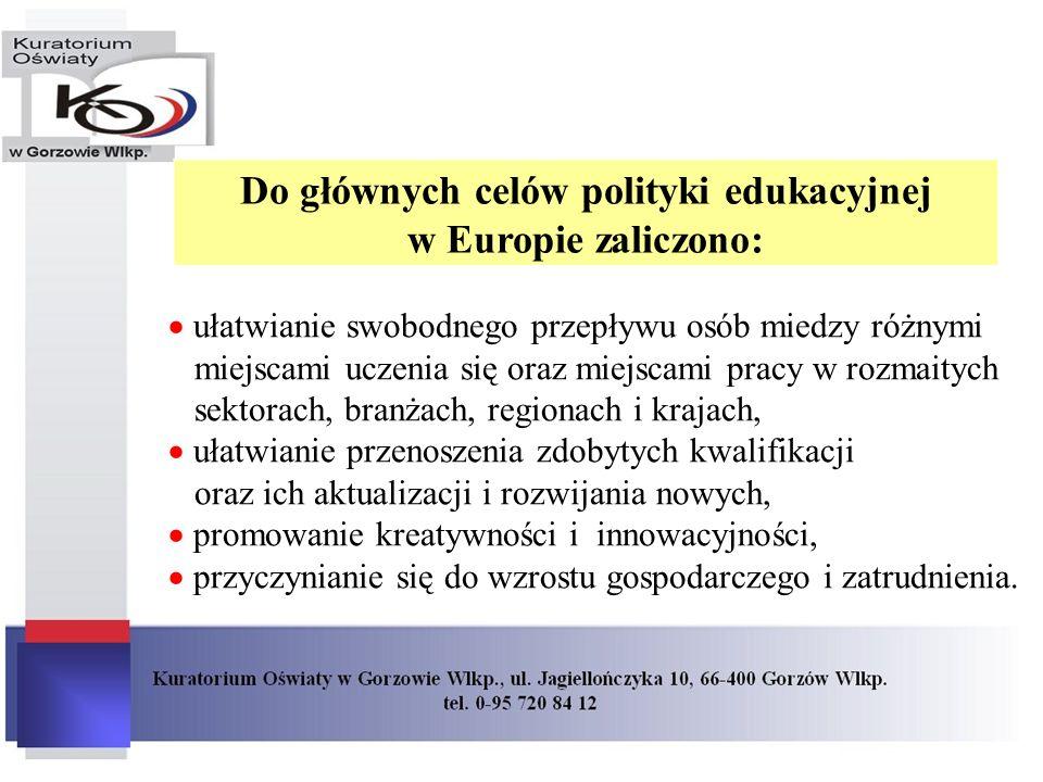 Do głównych celów polityki edukacyjnej w Europie zaliczono: