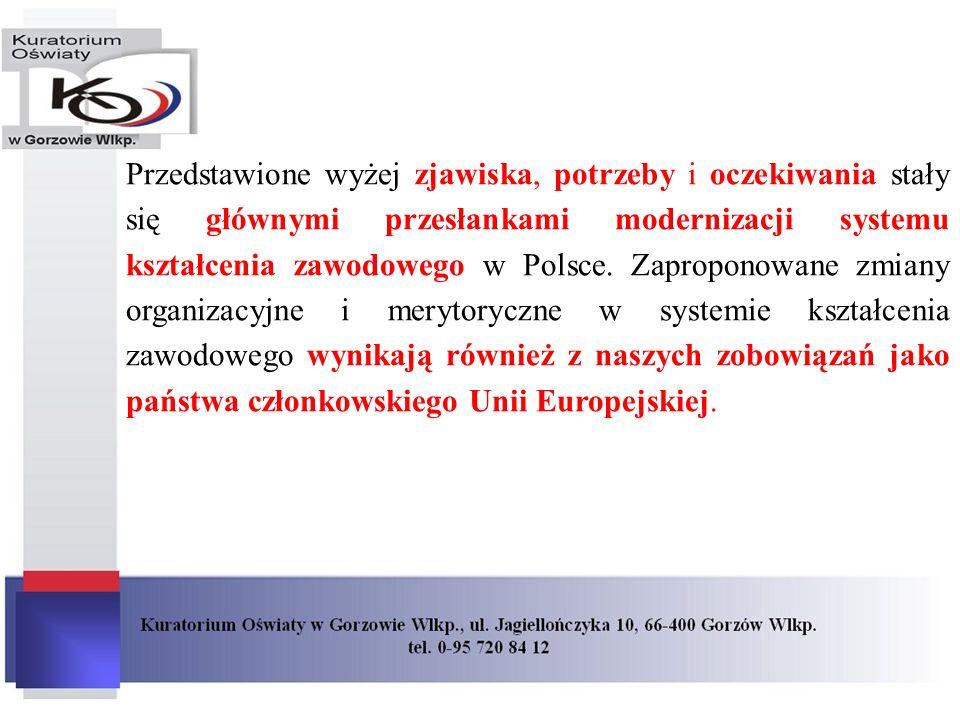 Przedstawione wyżej zjawiska, potrzeby i oczekiwania stały się głównymi przesłankami modernizacji systemu kształcenia zawodowego w Polsce.