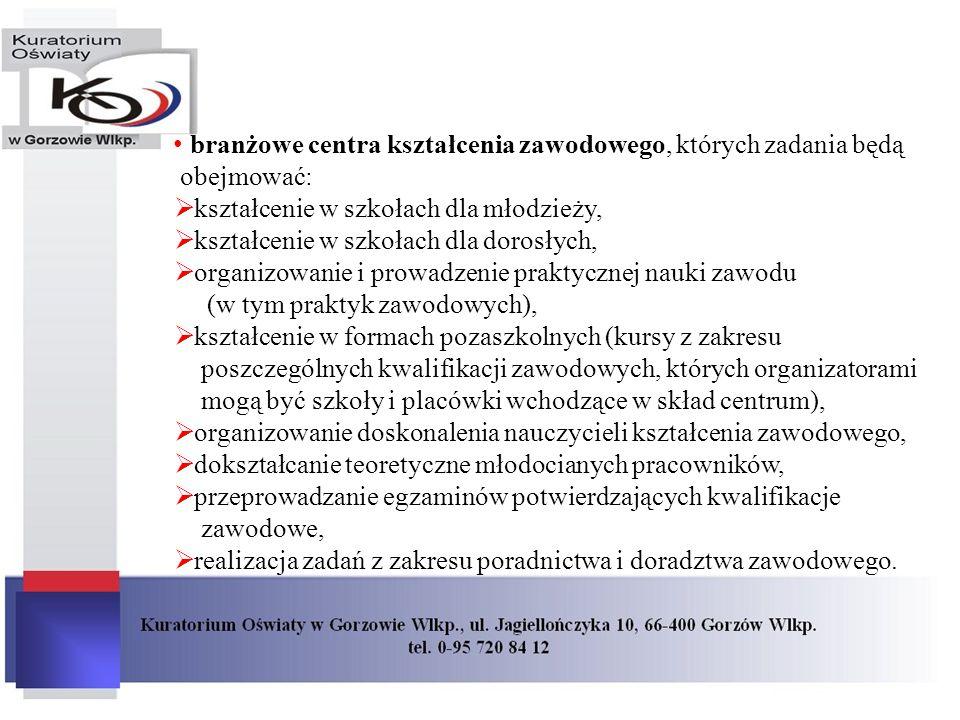 branżowe centra kształcenia zawodowego, których zadania będą obejmować:
