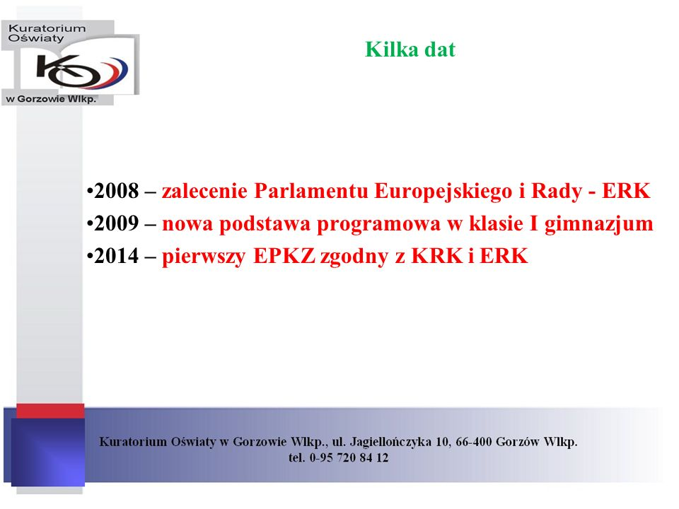 Kilka dat2008 – zalecenie Parlamentu Europejskiego i Rady - ERK. 2009 – nowa podstawa programowa w klasie I gimnazjum.