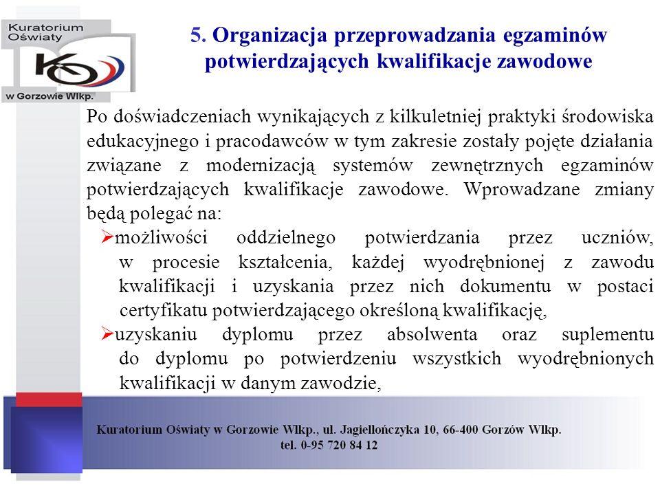 5. Organizacja przeprowadzania egzaminów potwierdzających kwalifikacje zawodowe