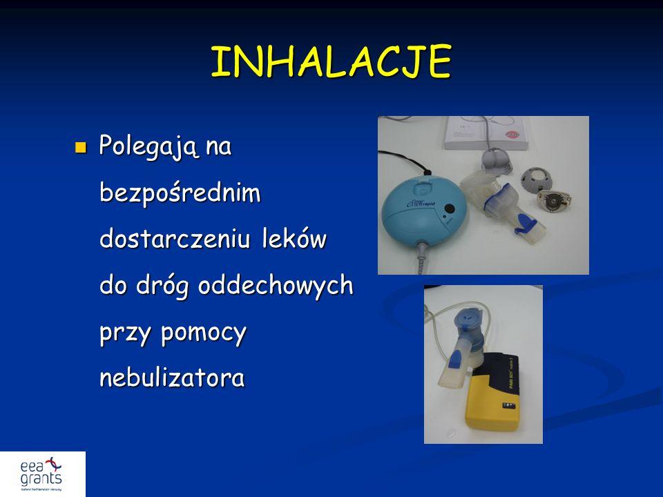 INHALACJE Polegają na bezpośrednim dostarczeniu leków do dróg oddechowych przy pomocy nebulizatora.