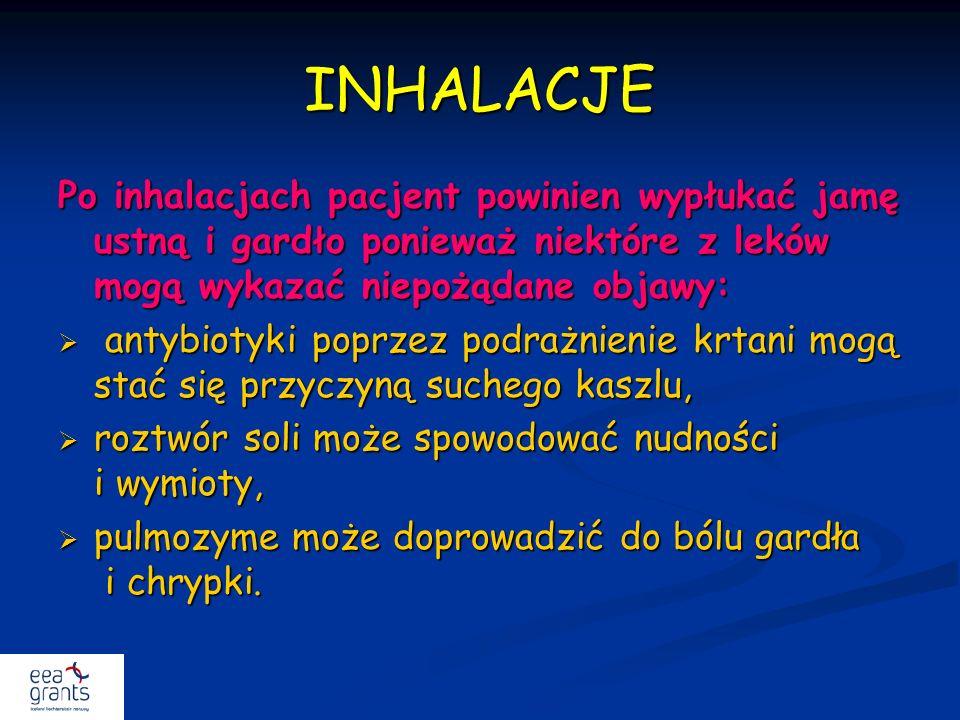 INHALACJE Po inhalacjach pacjent powinien wypłukać jamę ustną i gardło ponieważ niektóre z leków mogą wykazać niepożądane objawy: