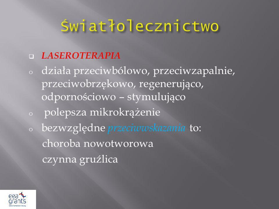 Światłolecznictwo LASEROTERAPIA. działa przeciwbólowo, przeciwzapalnie, przeciwobrzękowo, regenerująco, odpornościowo – stymulująco.