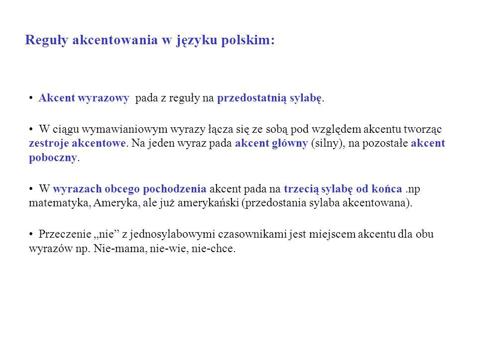 Reguły akcentowania w języku polskim: