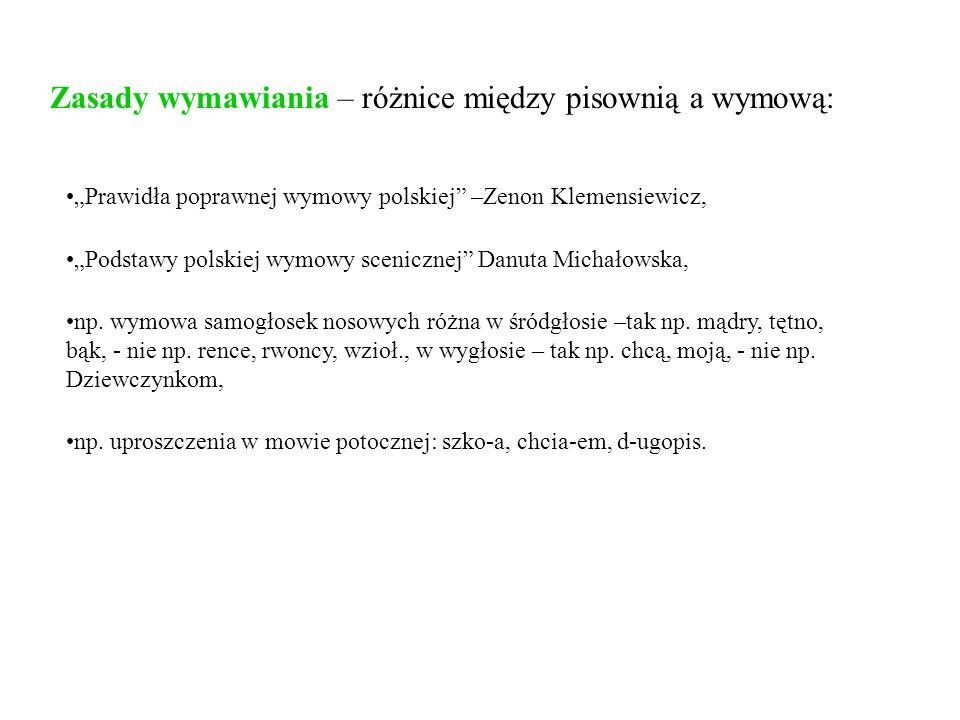 Zasady wymawiania – różnice między pisownią a wymową: