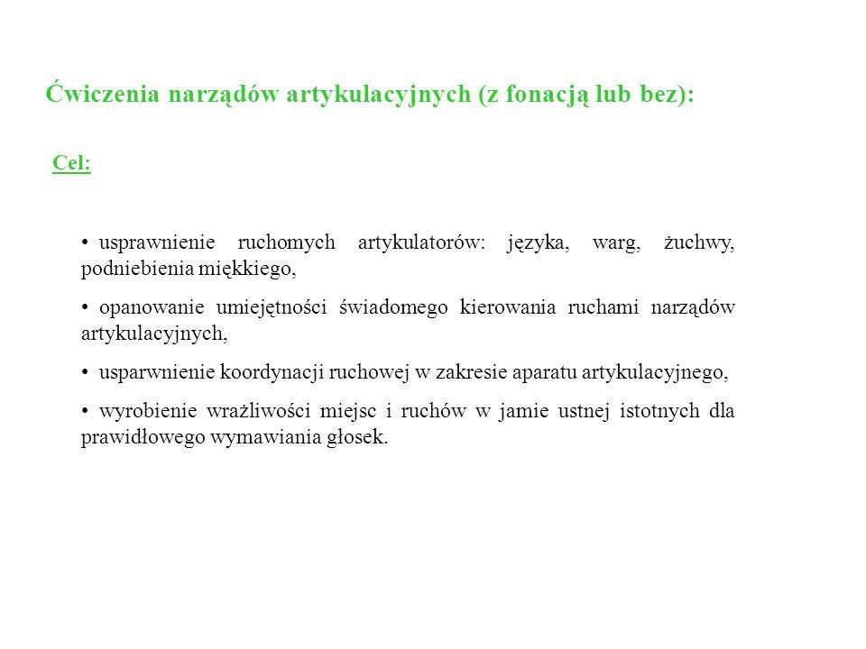 Ćwiczenia narządów artykulacyjnych (z fonacją lub bez):