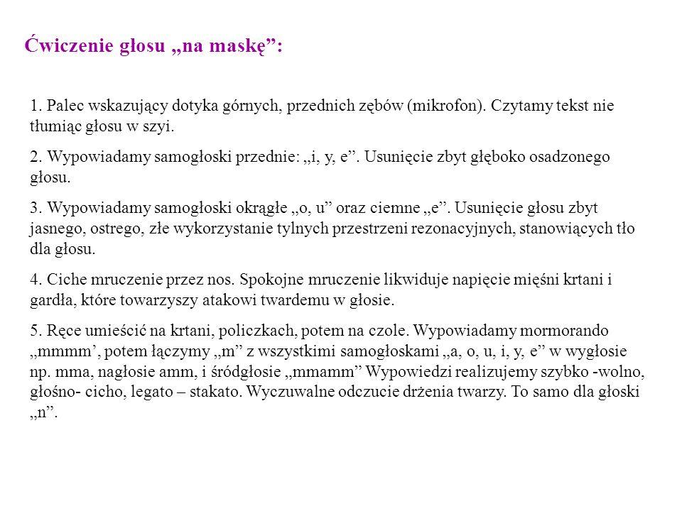 """Ćwiczenie głosu """"na maskę :"""