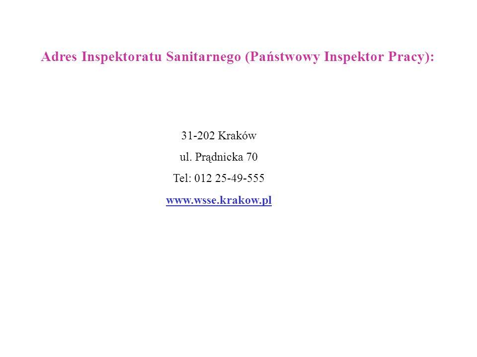 Adres Inspektoratu Sanitarnego (Państwowy Inspektor Pracy):