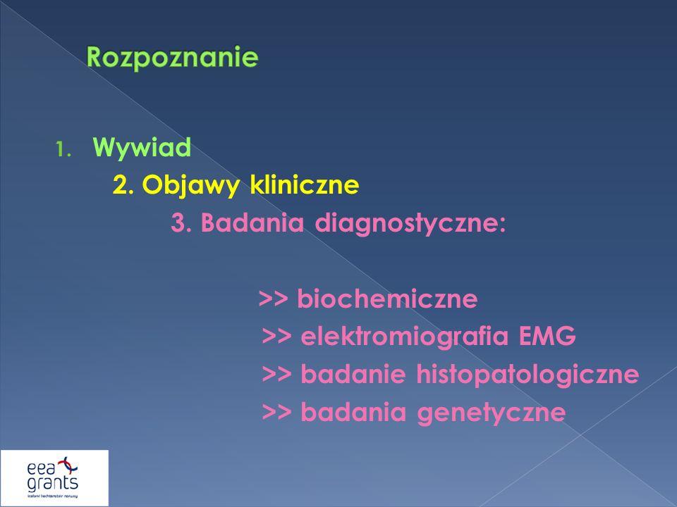 Rozpoznanie Wywiad 2. Objawy kliniczne 3. Badania diagnostyczne: