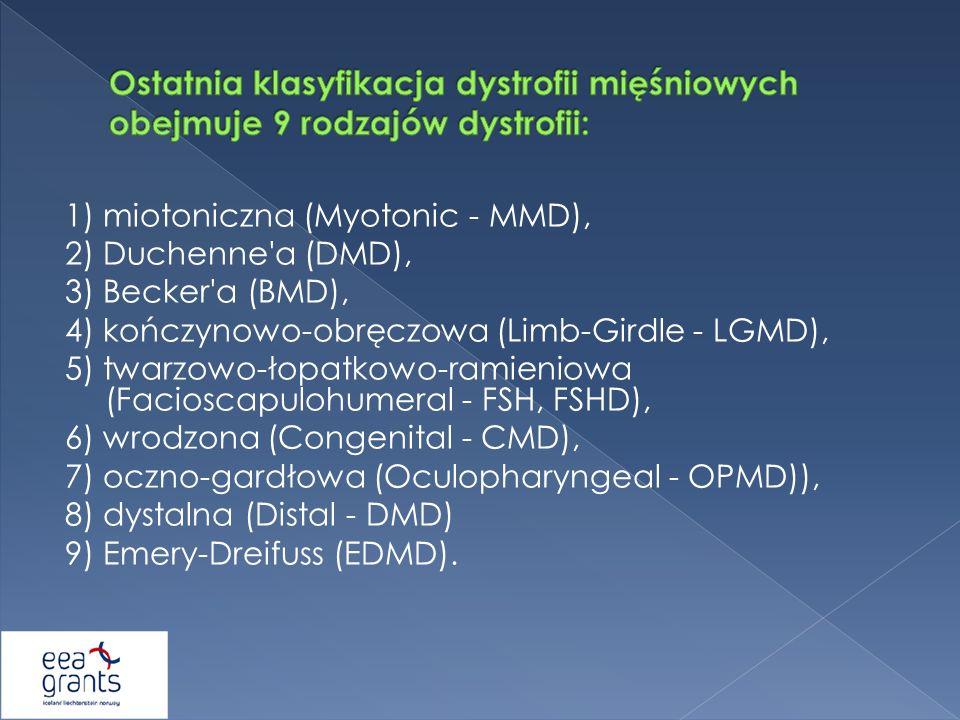 Ostatnia klasyfikacja dystrofii mięśniowych obejmuje 9 rodzajów dystrofii: