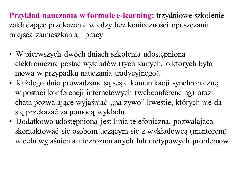 Przykład nauczania w formule e-learning: trzydniowe szkolenie zakładające przekazanie wiedzy bez konieczności opuszczania miejsca zamieszkania i pracy: