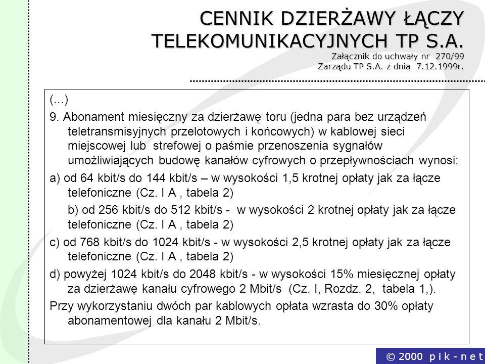 CENNIK DZIERŻAWY ŁĄCZY TELEKOMUNIKACYJNYCH TP S. A