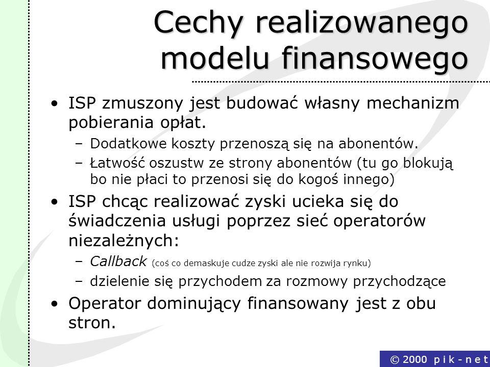 Cechy realizowanego modelu finansowego