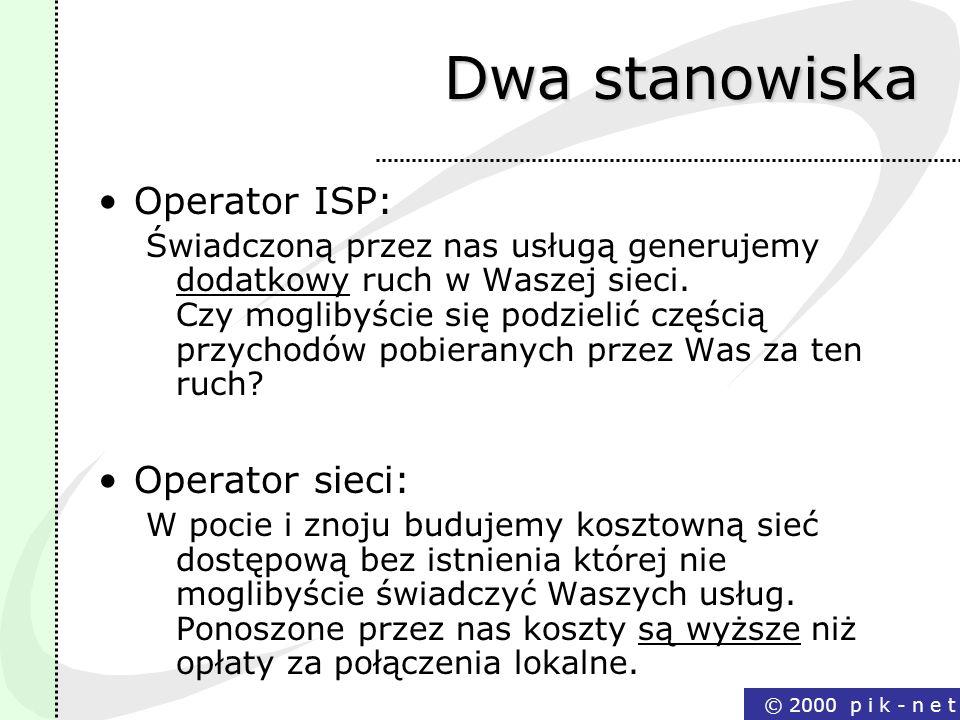 Dwa stanowiska Operator ISP: Operator sieci: