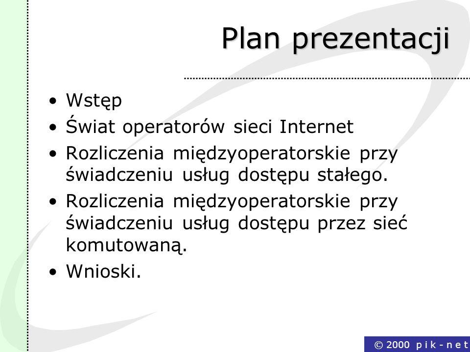 Plan prezentacji Wstęp Świat operatorów sieci Internet
