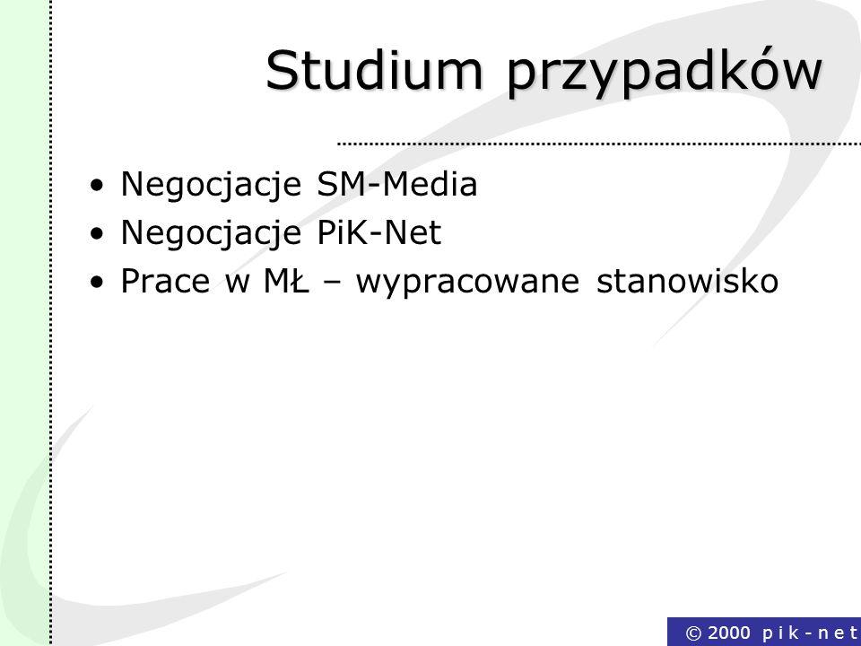 Studium przypadków Negocjacje SM-Media Negocjacje PiK-Net