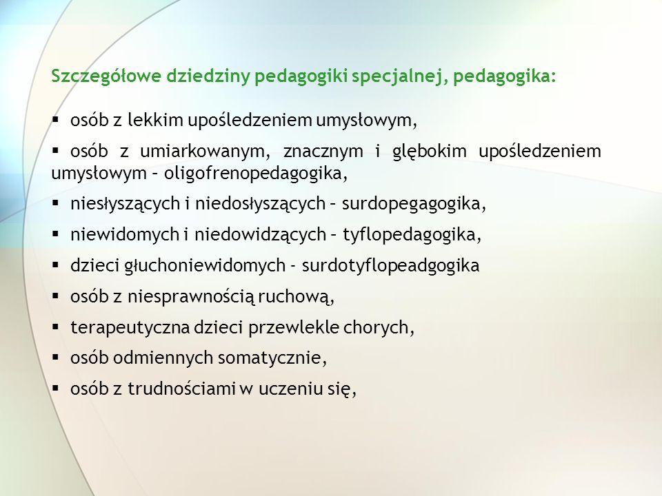 Szczegółowe dziedziny pedagogiki specjalnej, pedagogika:
