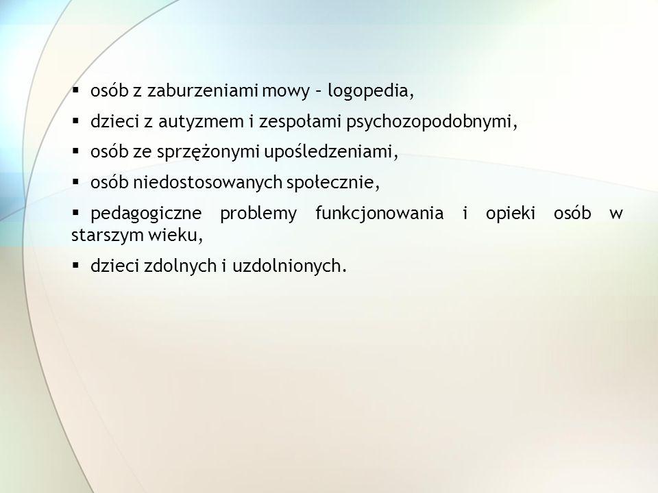 osób z zaburzeniami mowy – logopedia,
