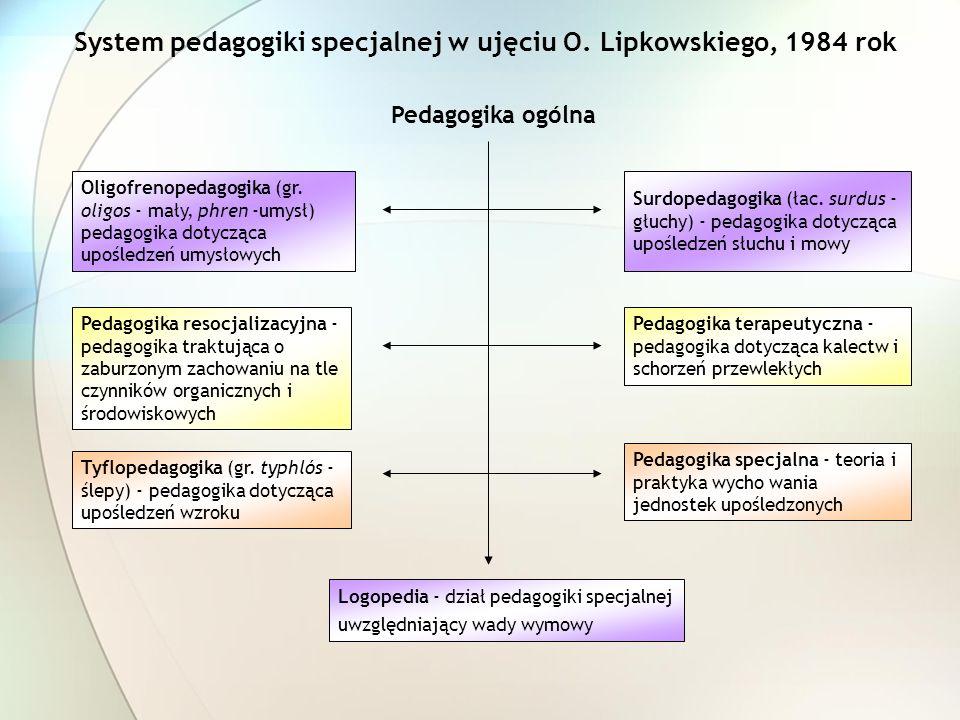 System pedagogiki specjalnej w ujęciu O. Lipkowskiego, 1984 rok