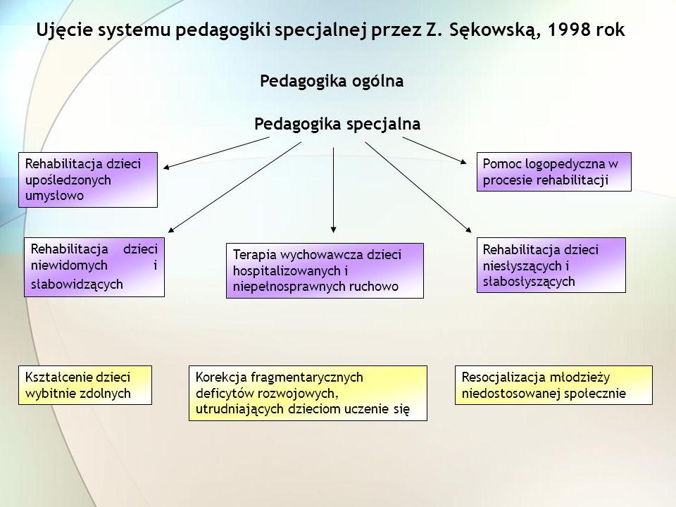 Ujęcie systemu pedagogiki specjalnej przez Z. Sękowską, 1998 rok