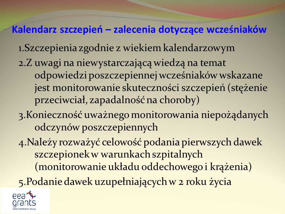 Kalendarz szczepień – zalecenia dotyczące wcześniaków