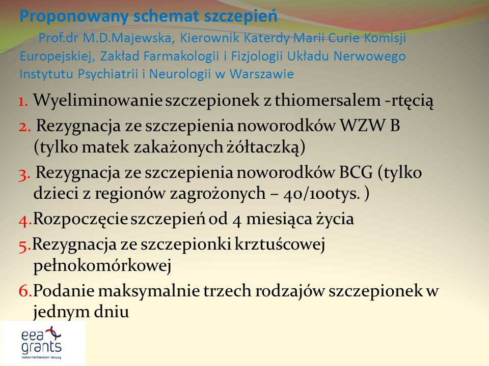 Proponowany schemat szczepień Prof. dr M. D